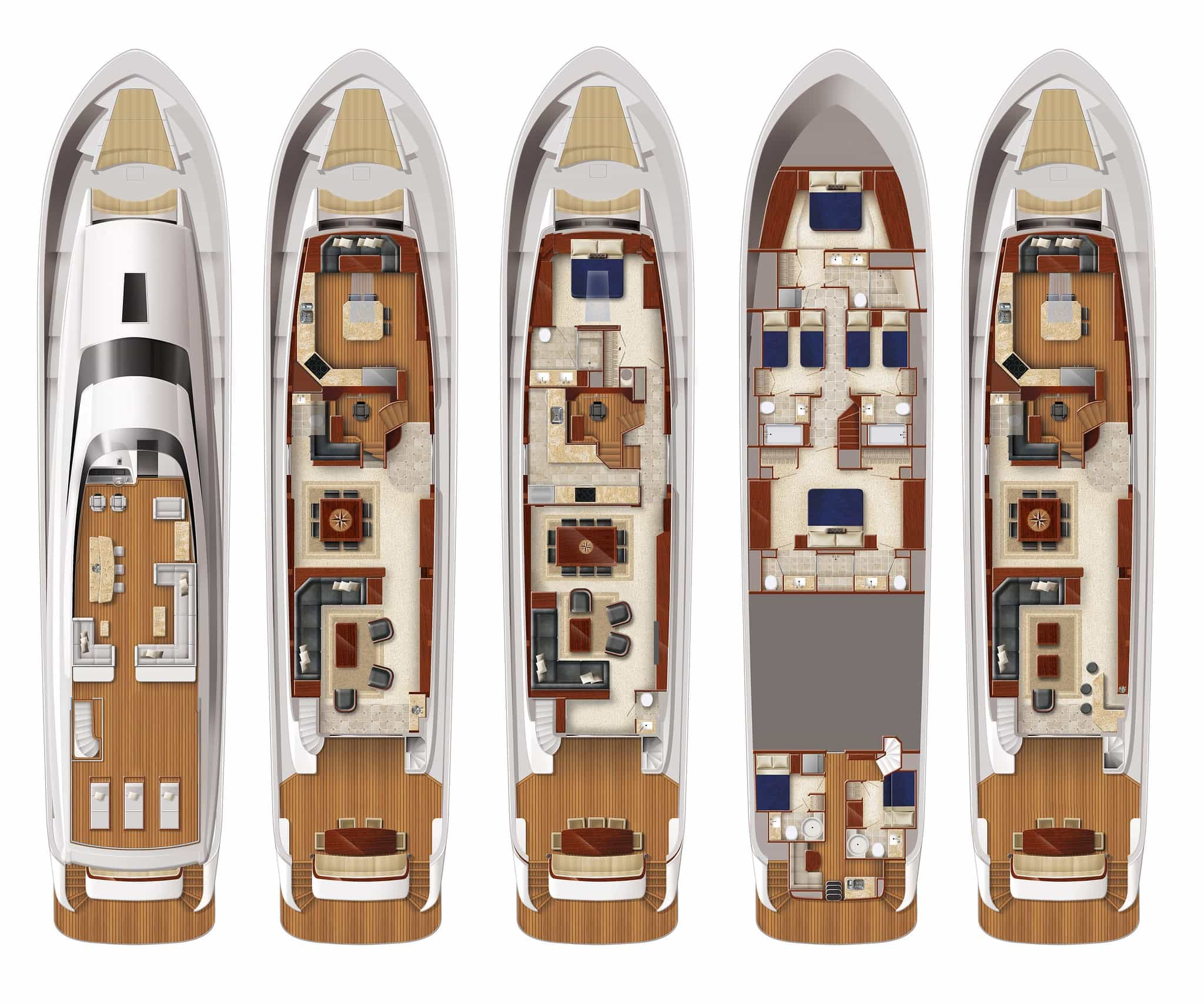 Hatteras 105 Raised Pilothouse Layouts