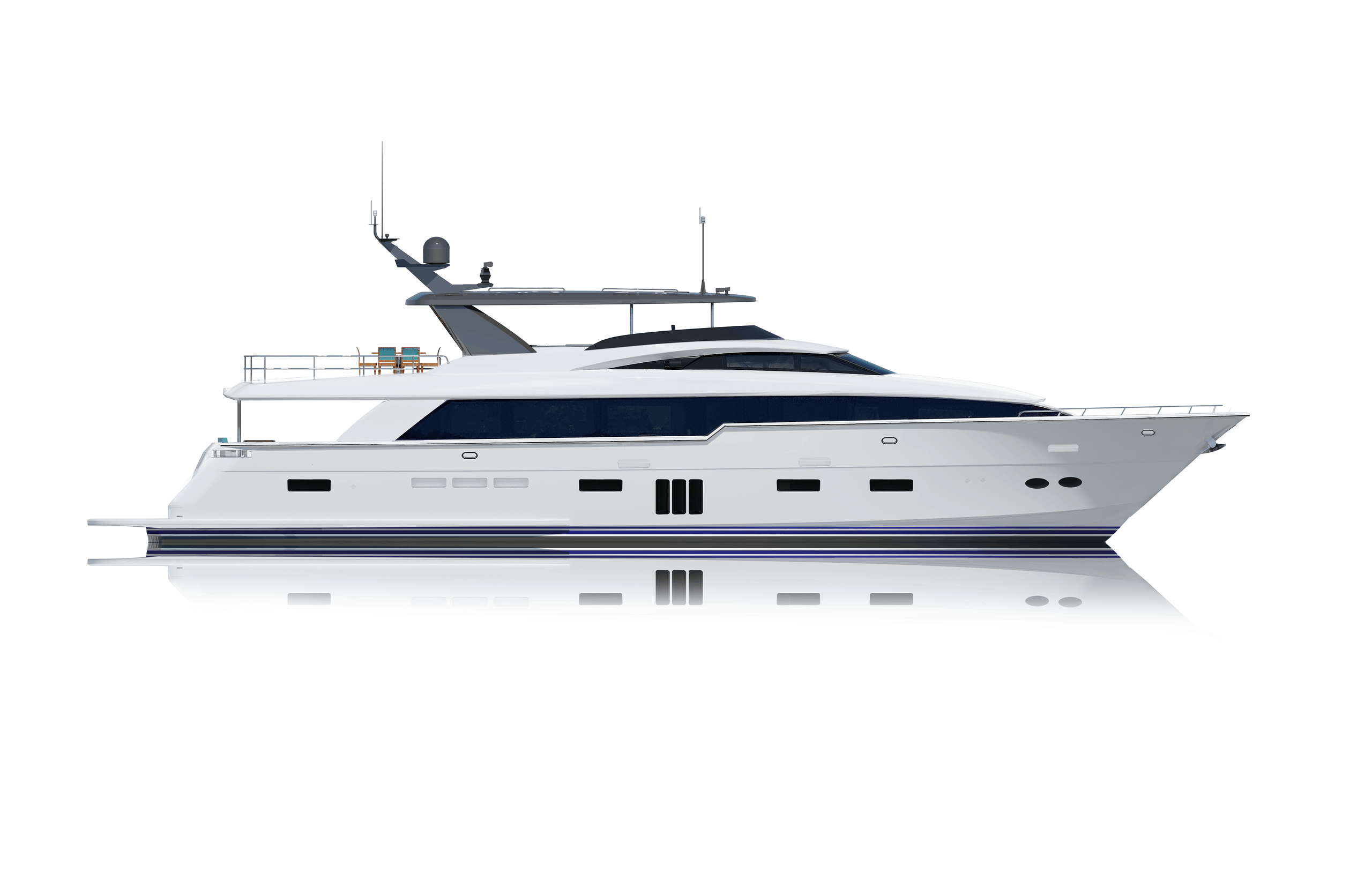 Hatteras 105 Raised Pilothouse Starboard Side Rendering