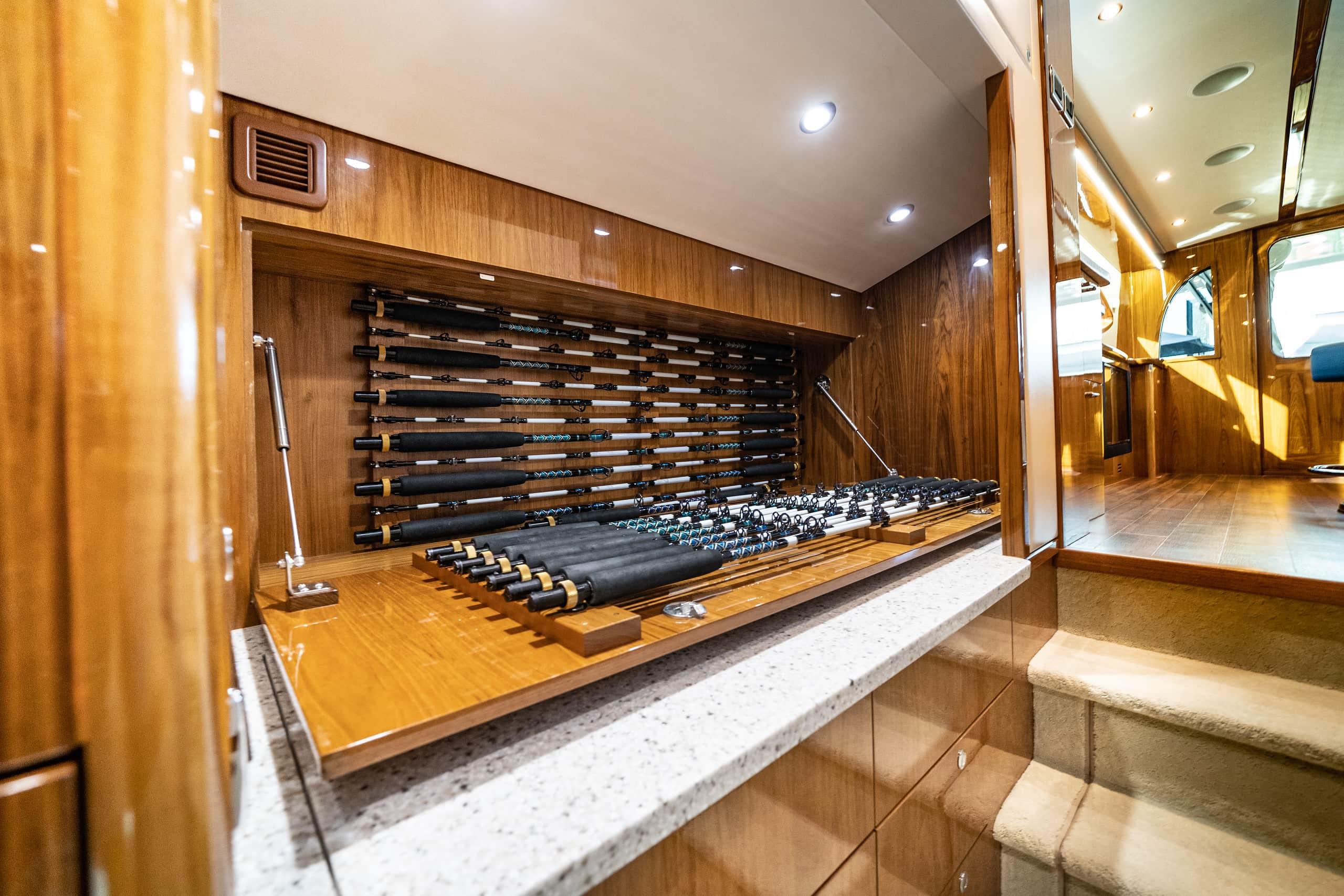Hatteras GT59 Rod Storage