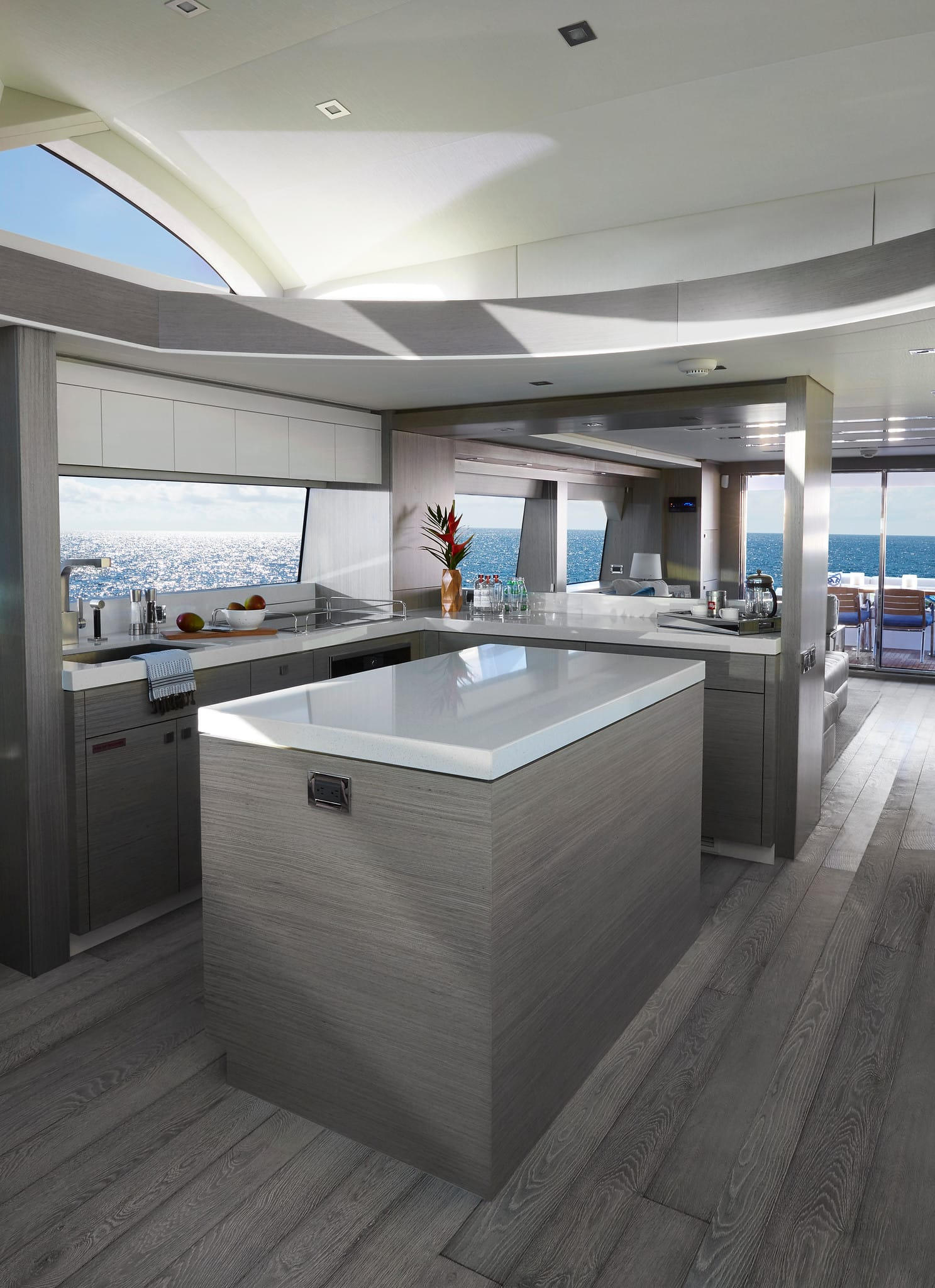 Hatteras M75 Panacera Galley Gray