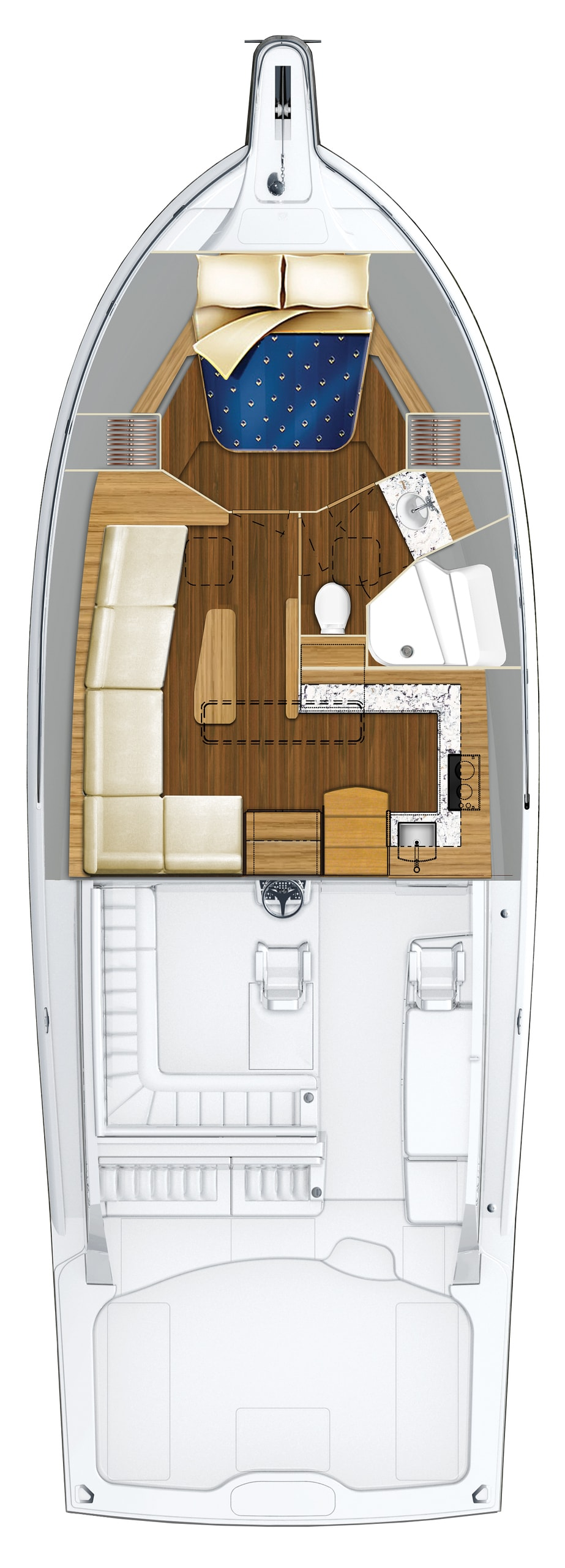 Hatteras GT45 Express One Stateroom Configuration