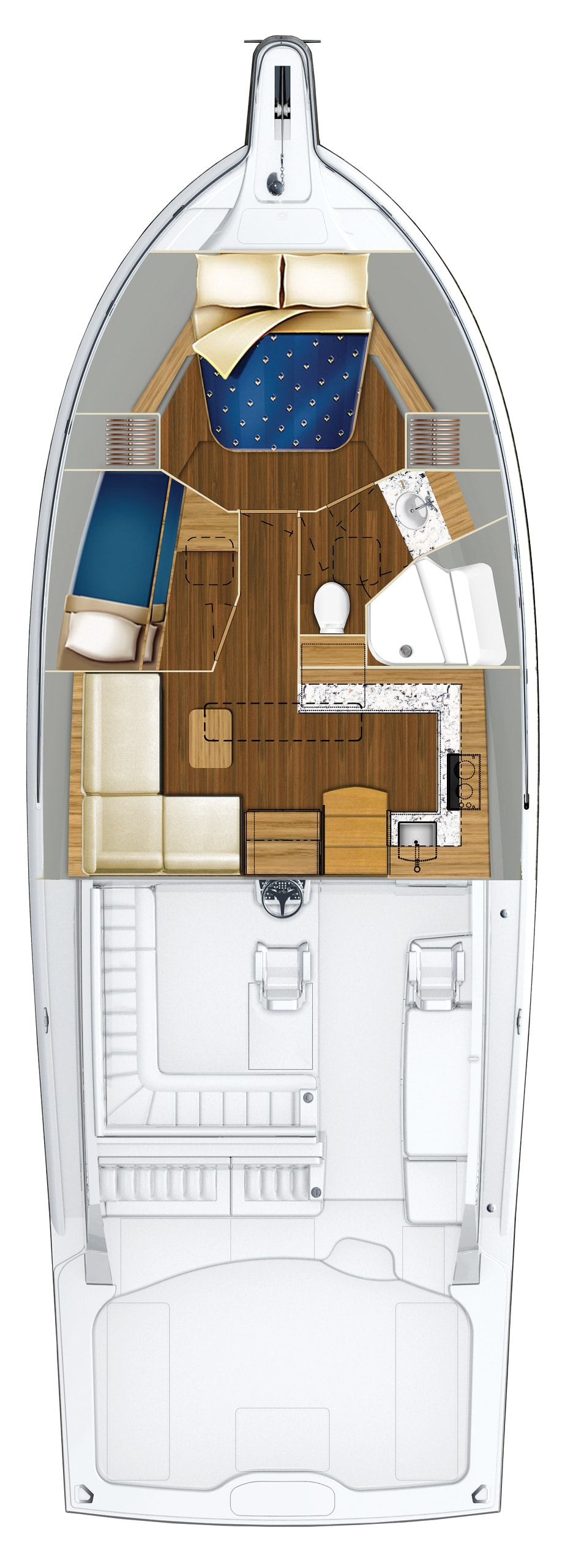 Hatteras GT45 Express Stateroom Configuration With Bunk